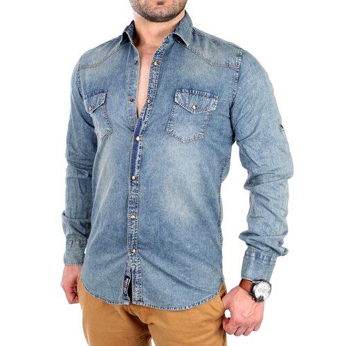 Rusty Neal Jeanshemd Herren Vintage Freizeit Langarmhemd RN-4503 Blau bd624bc0a4