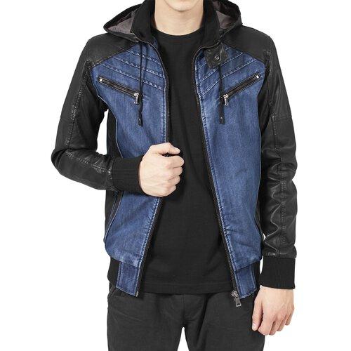Urban Classics Jacke Herren Kapuzen Jeans-Kunstleder Mix Jacke TB-675 Blau  ... e6b597450b