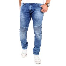 ReRock Jeans Herren Slim Fit Biker Look Denim Jeanshose...