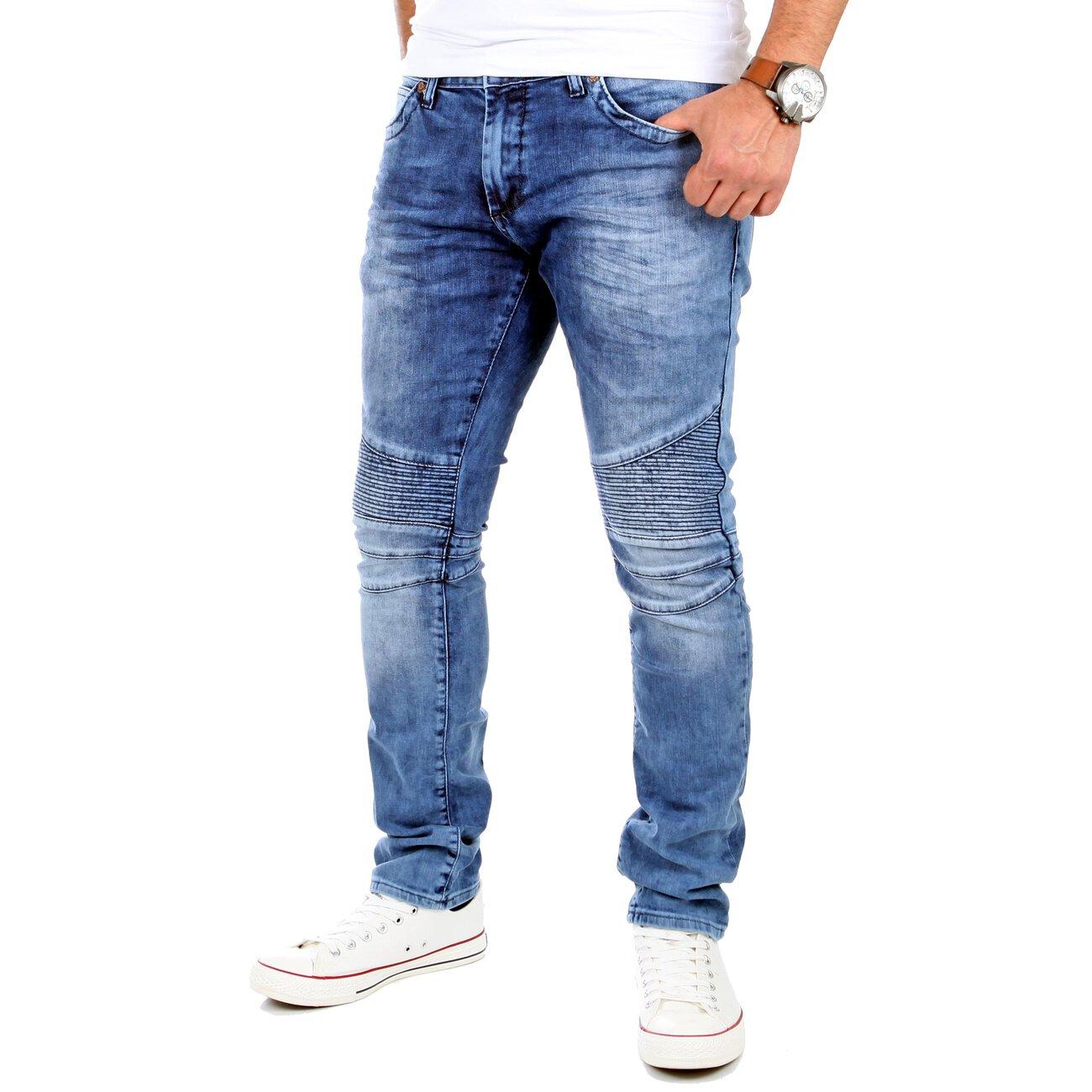 rerock jeans herren slim fit biker look denim jeanshose rr. Black Bedroom Furniture Sets. Home Design Ideas