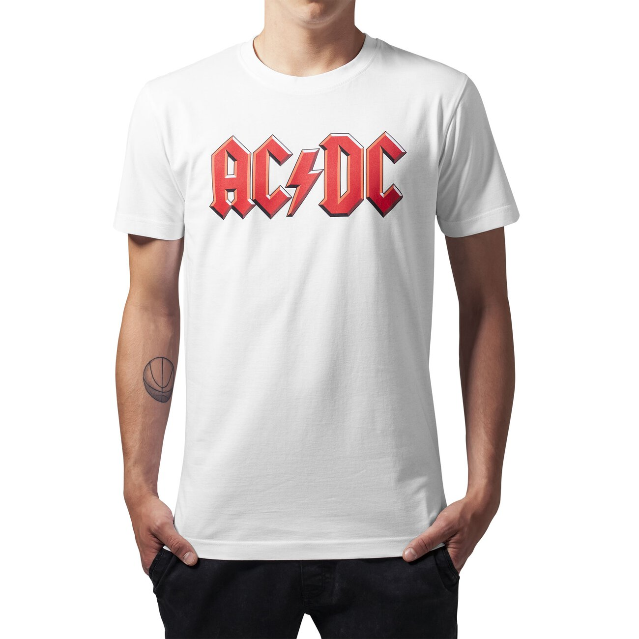 ac dc t shirt mister tee ac dc logo motiv shirt mt 353 wei. Black Bedroom Furniture Sets. Home Design Ideas