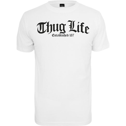 Mister Tee T-Shirt Herren THUG LIFE OLD ENGLISH Print Shirt MT-382 Weiß