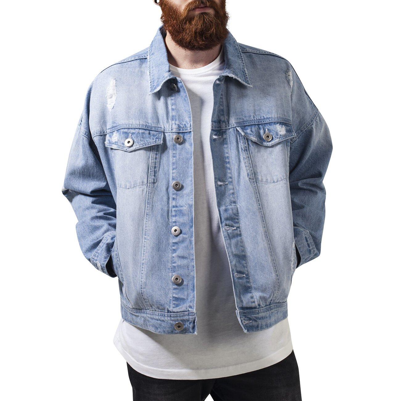urban classics jeansjacke herren ripped denim jacke tb 1438 bleached. Black Bedroom Furniture Sets. Home Design Ideas