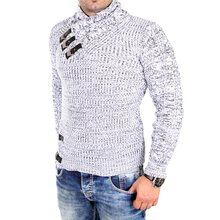 Tazzio Strickpullover Herren Grobstrick Pullover mit Schnallen TZ-16477 Weiß  S 0d812dcbdc