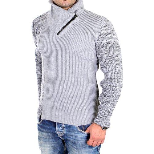 beste website sehr schön 2019 Ausverkauf Tazzio Strickpullover Herren BiColor Zipper Kragen Pullover TZ-16478