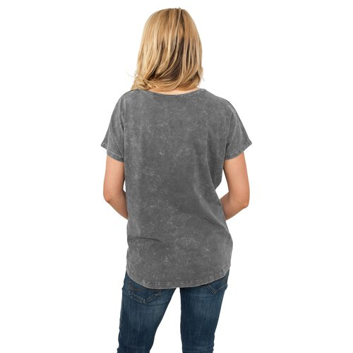 Urban Classics T-Shirt Damen Used Look Regular Kurzarm Shirt TB-594 Blau