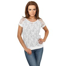 Urban Classics T-Shirt Damen Double Layer Laces Kurzarm...