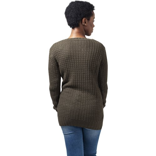 Urban Classics Pullover Damen Long Wideneck Sweater Strickpullover TB-739