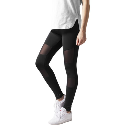 Urban Classics Leggings Damen Tech Mesheinsatz Damenhose TB-1174 Schwarz