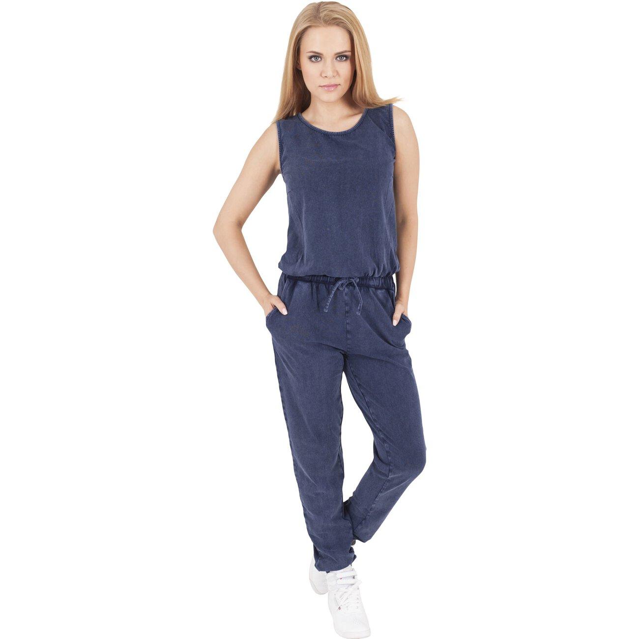 urban classics jumpsuit damen denim jersey einteiler tb 1057. Black Bedroom Furniture Sets. Home Design Ideas