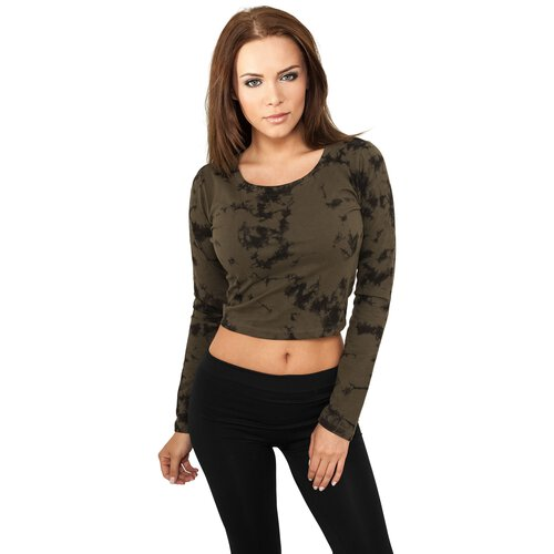 Urban Classics Langarmshirt Damen Bauchfreies Acid Wash Cropped Shirt TB-774