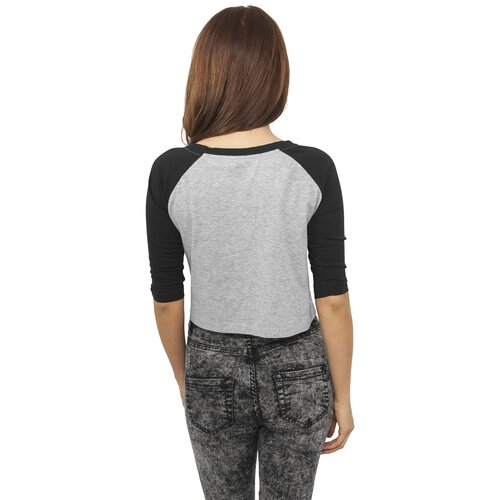 Urban Classics T-Shirt Damen 3/4 Raglan Arm Cropped Shirt TB-924