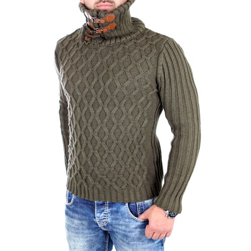 detailed look 146ae 92c06 Tazzio Strickpullover Herren High Neck Schnallen Winter-Pullover TZ-16489