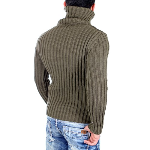 Tazzio Strickpullover Herren High Neck Schnallen Winter-Pullover TZ-16489