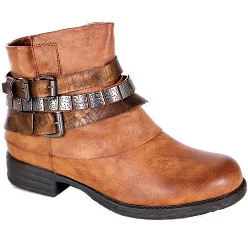 the best attitude fb1d6 859f4 Damen Schuhe Biker-Boots Lederoptik Stiefeletten Schnallen Nieten-Schuh  A2B-1018