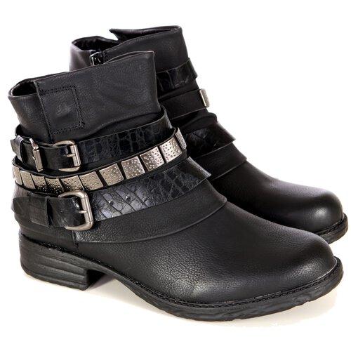 the best attitude b26cc adcff Damen Schuhe Biker-Boots Lederoptik Stiefeletten Schnallen Nieten-Schuh  A2B-1018