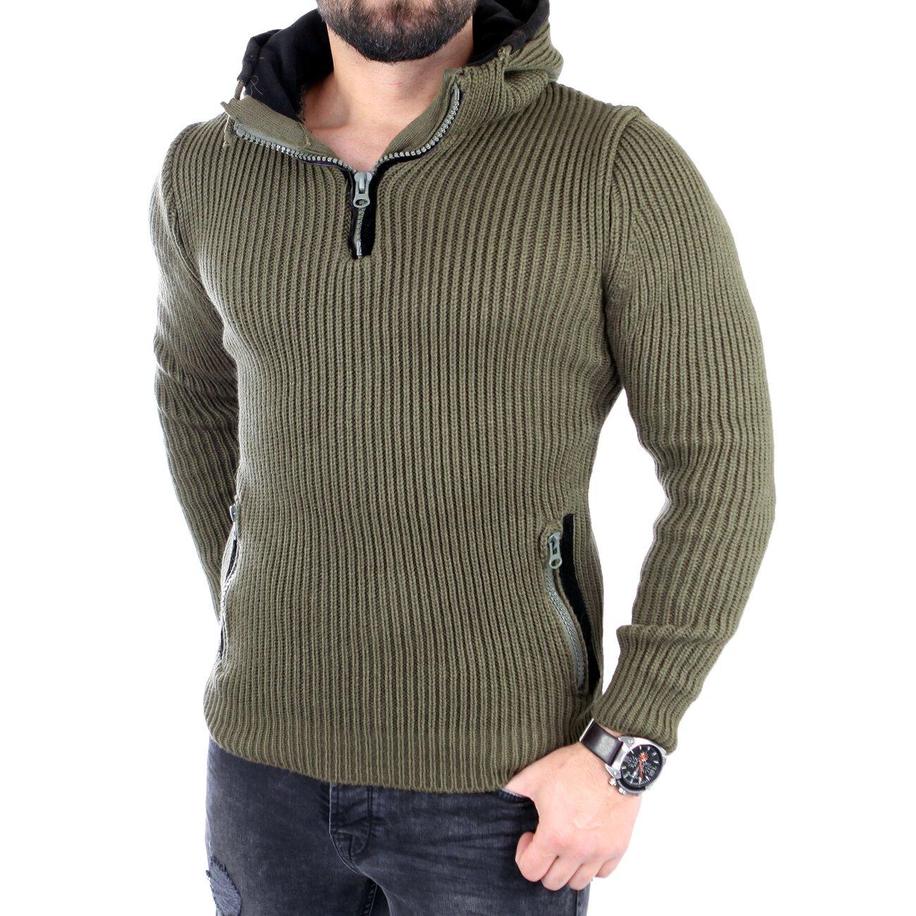 tazzio strickpullover herren winter kapuzen pullover hoodie tz 16492. Black Bedroom Furniture Sets. Home Design Ideas