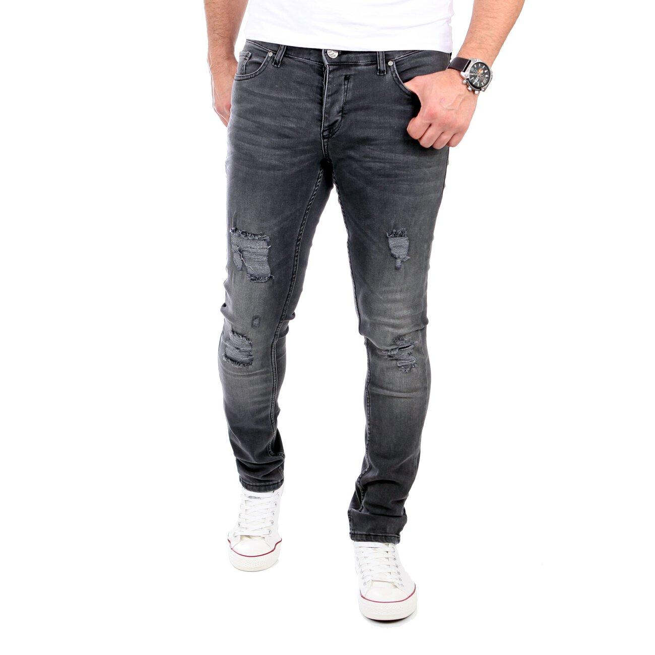 reslad jeans herren destroyed look slim fit strech jeans schwarz. Black Bedroom Furniture Sets. Home Design Ideas