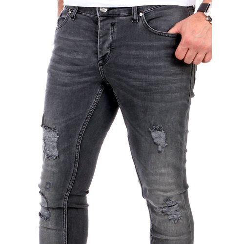 Reslad Jeans Herren Destroyed Look Slim Fit Denim Stretch Jeans-Hose RS-2062