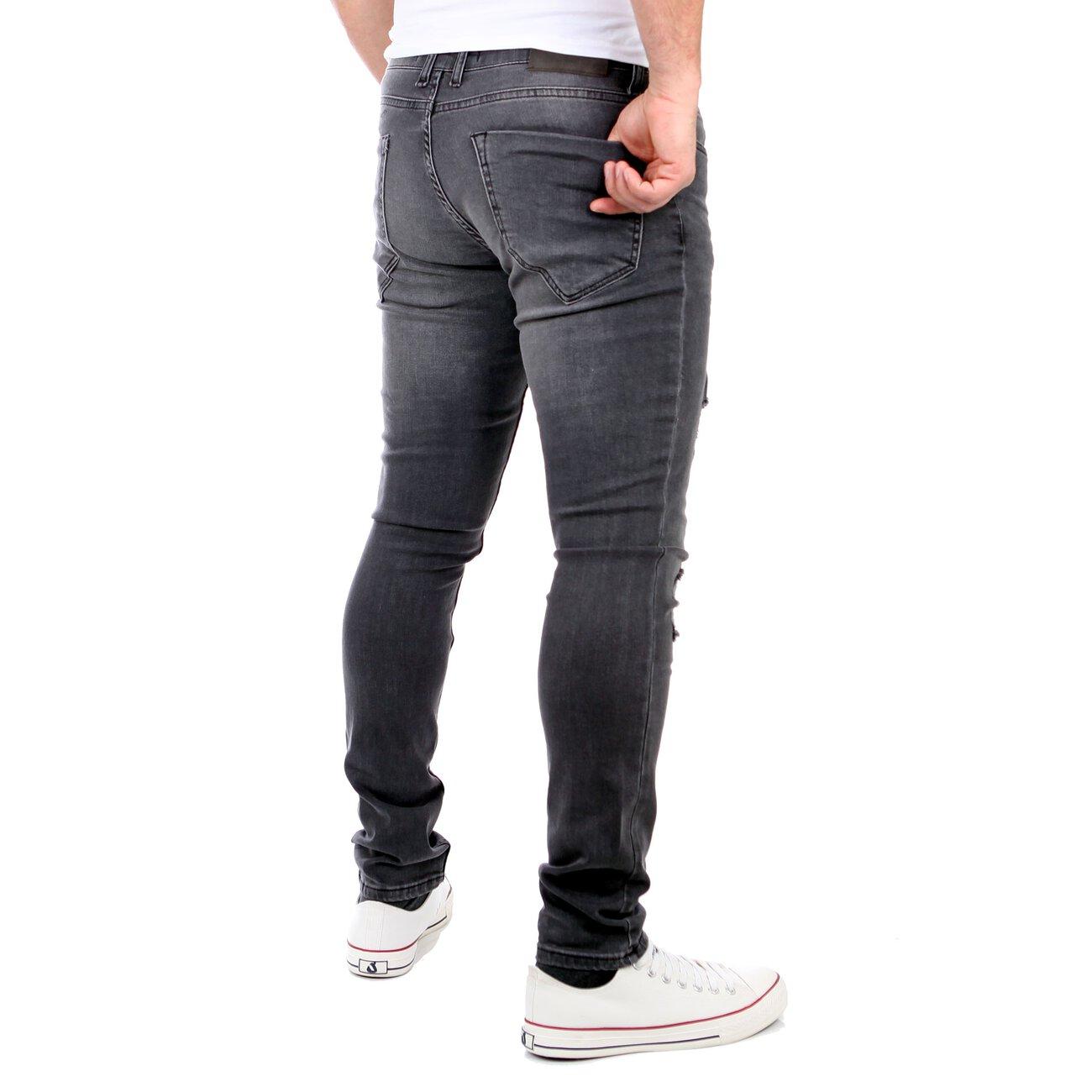 tazzio jeans destroyed look slim fit strech hose schwarz. Black Bedroom Furniture Sets. Home Design Ideas