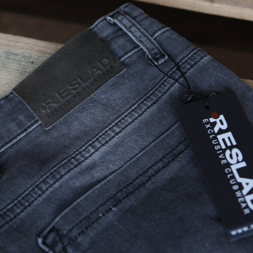 Reslad Jeans Herren Destroyed Look Slim Fit Denim Strech Jeans Hose RS 2062 Schwarz W34 L32
