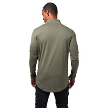 Urban Classics Langarmshirt Herren Long Shaped Turtle Zip...