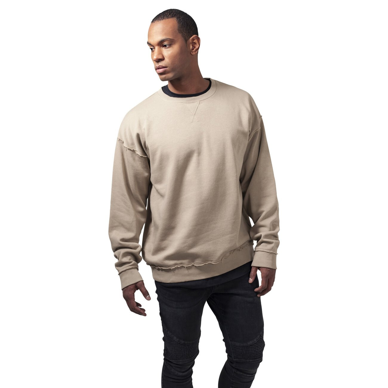 urban classics sweatshirt herren oversized open edge crewn beige. Black Bedroom Furniture Sets. Home Design Ideas