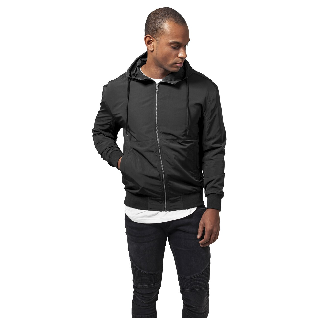 nylon windbreaker urban classics nylon jacke herren schwarz. Black Bedroom Furniture Sets. Home Design Ideas