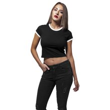 Urban Classics Damen Top Cropped Ringer Bauchfrei...