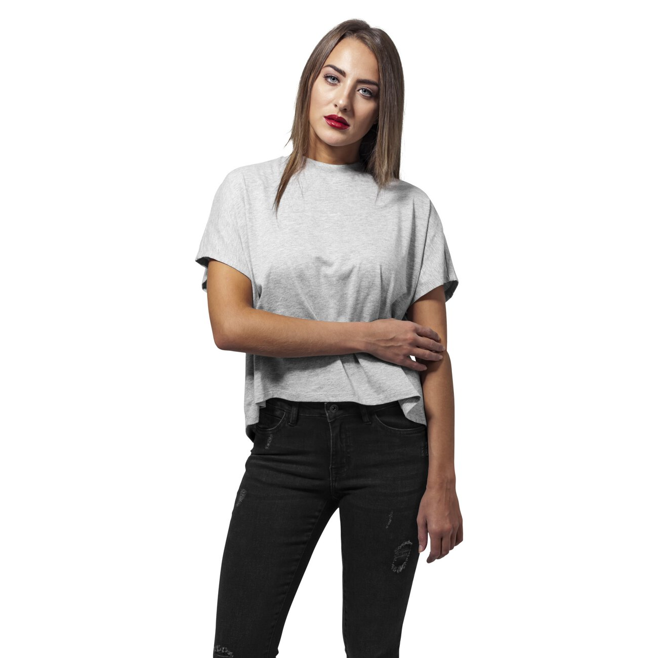 Urban classics t shirt damen overlap turtleneck kurzarm shirt for Turtleneck under t shirt