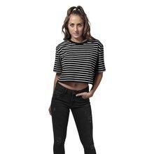 b99ca5ffce59c7 Urban Classics T-Shirt Damen Short Striped Oversized Kurzarm Shirt TB-1506  Schwarz L