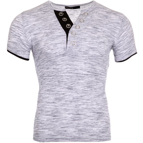 Reslad T-Shirt Herren Melange Basic Big Button V-Neck Kurzarm-Shirt RS-5002