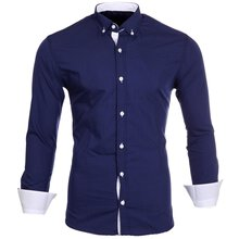 Reslad Herren-Hemd Kontrast Look Button-Down-Kragen...