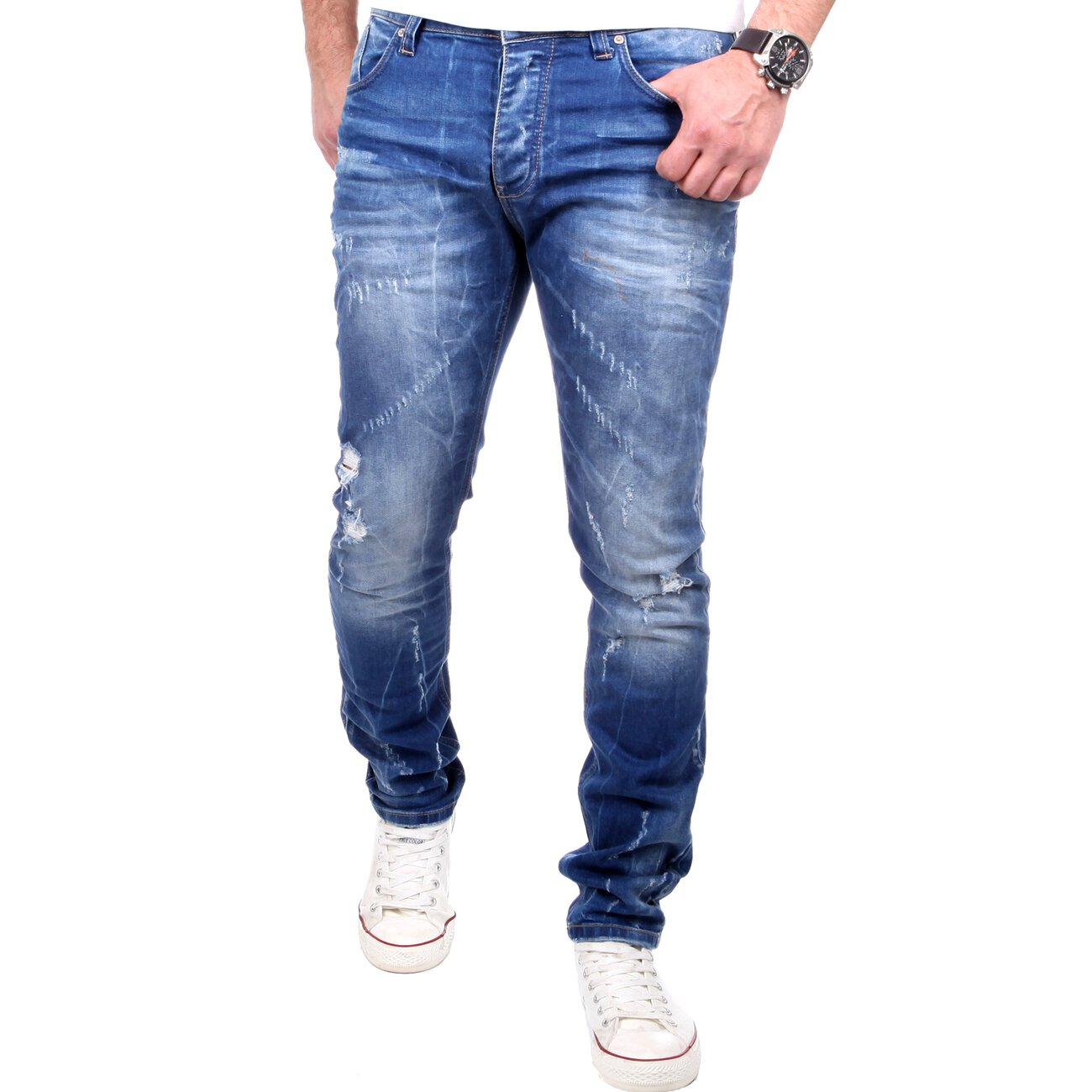 redbridge jeans herren slim fit denim destroyed jeanshose blau. Black Bedroom Furniture Sets. Home Design Ideas
