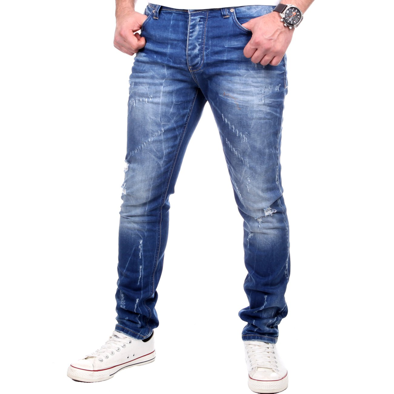 redbridge jeans herren slim fit denim destroyed jeanshose blau. Black Bedroom Furniture Sets. Home Design Ideas