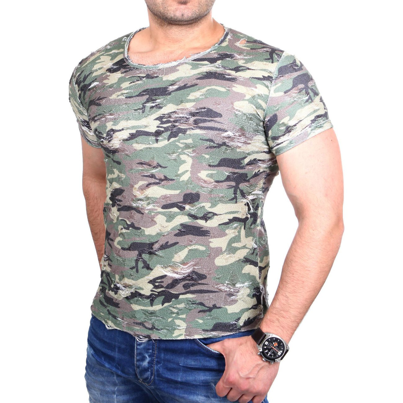redbridge t shirt herren ripped look kurzarm shirt camouflage. Black Bedroom Furniture Sets. Home Design Ideas