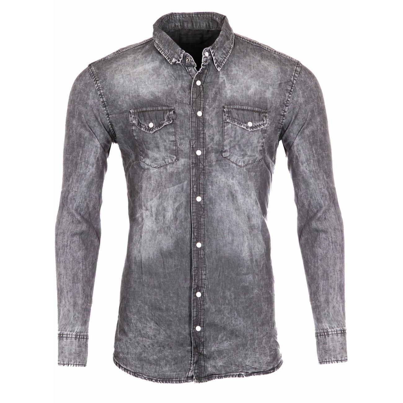 jeanshemd grau   reslad rs-7302   hemden günstig