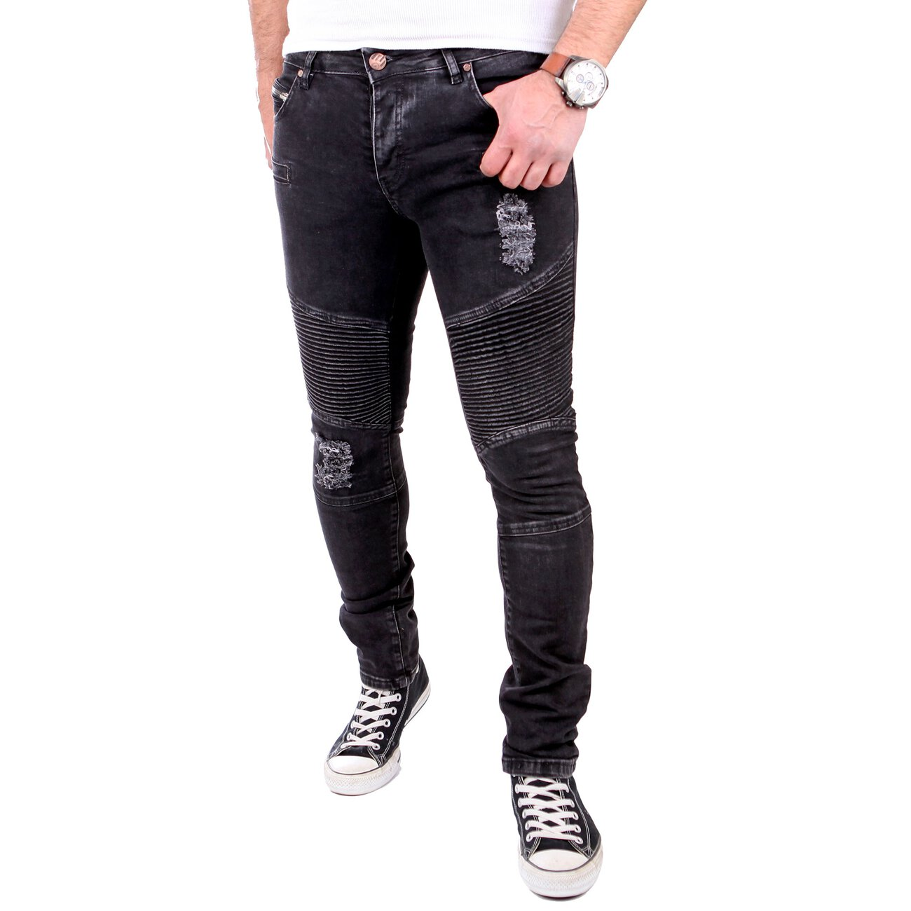 reslad jeans herren biker jeans slim fit denim stretch. Black Bedroom Furniture Sets. Home Design Ideas