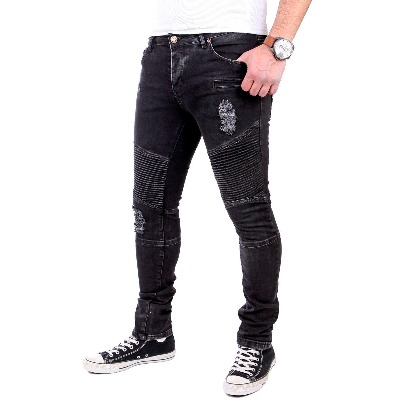 reslad jeans herren biker jeans slim fit denim stretch ripped jeans hose. Black Bedroom Furniture Sets. Home Design Ideas
