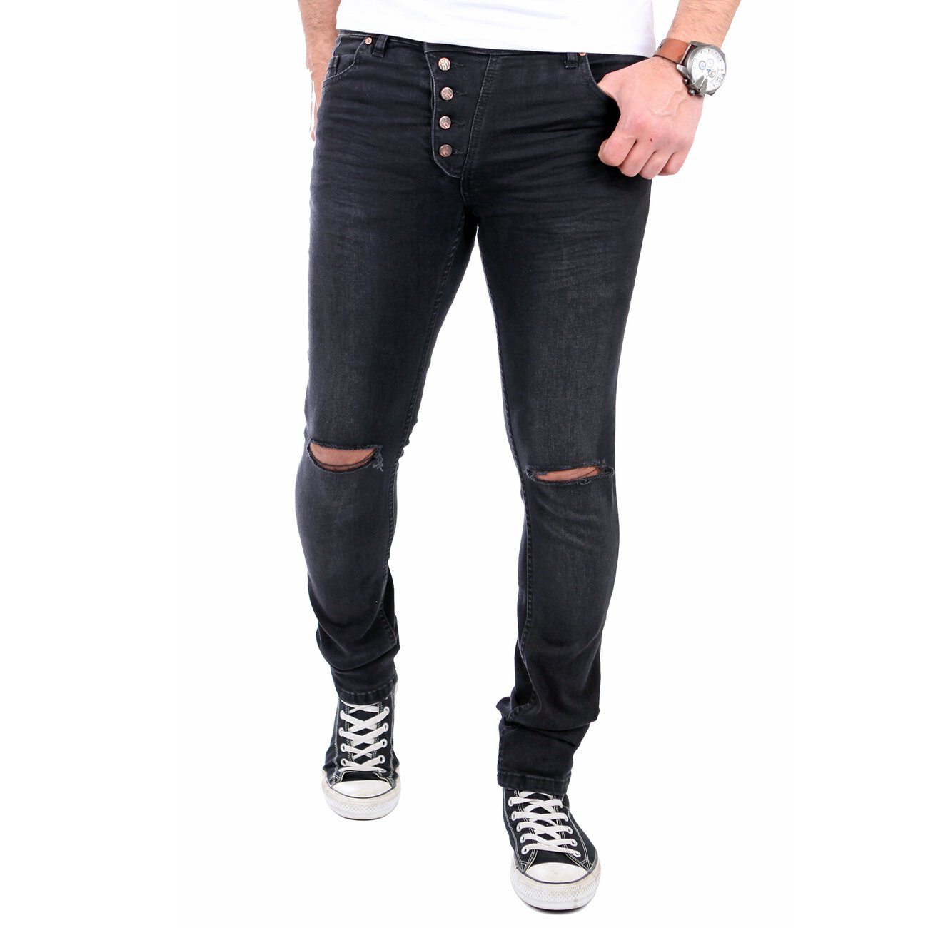 reslad jeans herren knie zerrissen slim fit denim destroyed jeans hose. Black Bedroom Furniture Sets. Home Design Ideas