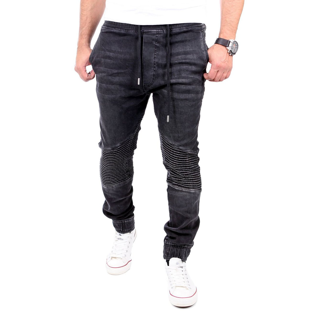 reslad jogg jeans biker style jeans herren slim fit. Black Bedroom Furniture Sets. Home Design Ideas