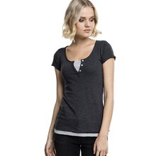 Urban Classics Damen T-Shirt Two-Colored Layer-Look...