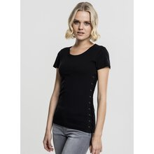 Urban Classics Damen T-Shirt Washed Laced Up Kurzarm...