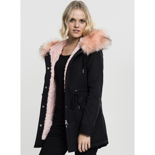 Urban Classics Damen-Jacke Peached Teddy Kapuzen Winter-Jacke Parka TB-1763