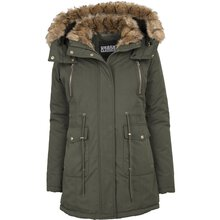 Urban Classics Damen Winter-Jacke Kunst-Fellkragen...