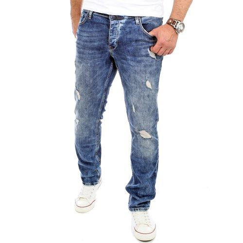Reslad Jeans-Herren Destroyed Look Slim Fit Stretch Denim Jeans-Hose RS-2069 478cb04dda