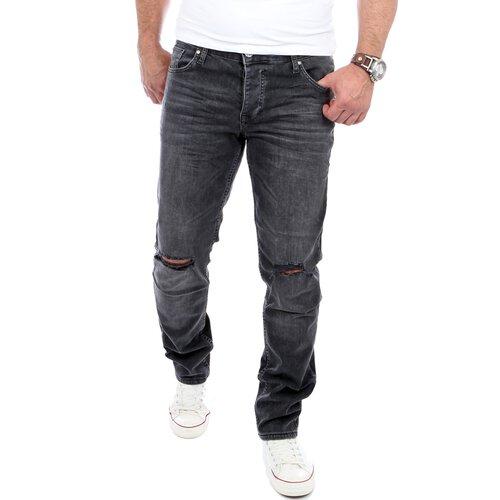 Reslad Jeans-Herren Cut Off Knee Slim Fit Denim Destroyed Jeans-Hose RS-2070 434af0179b