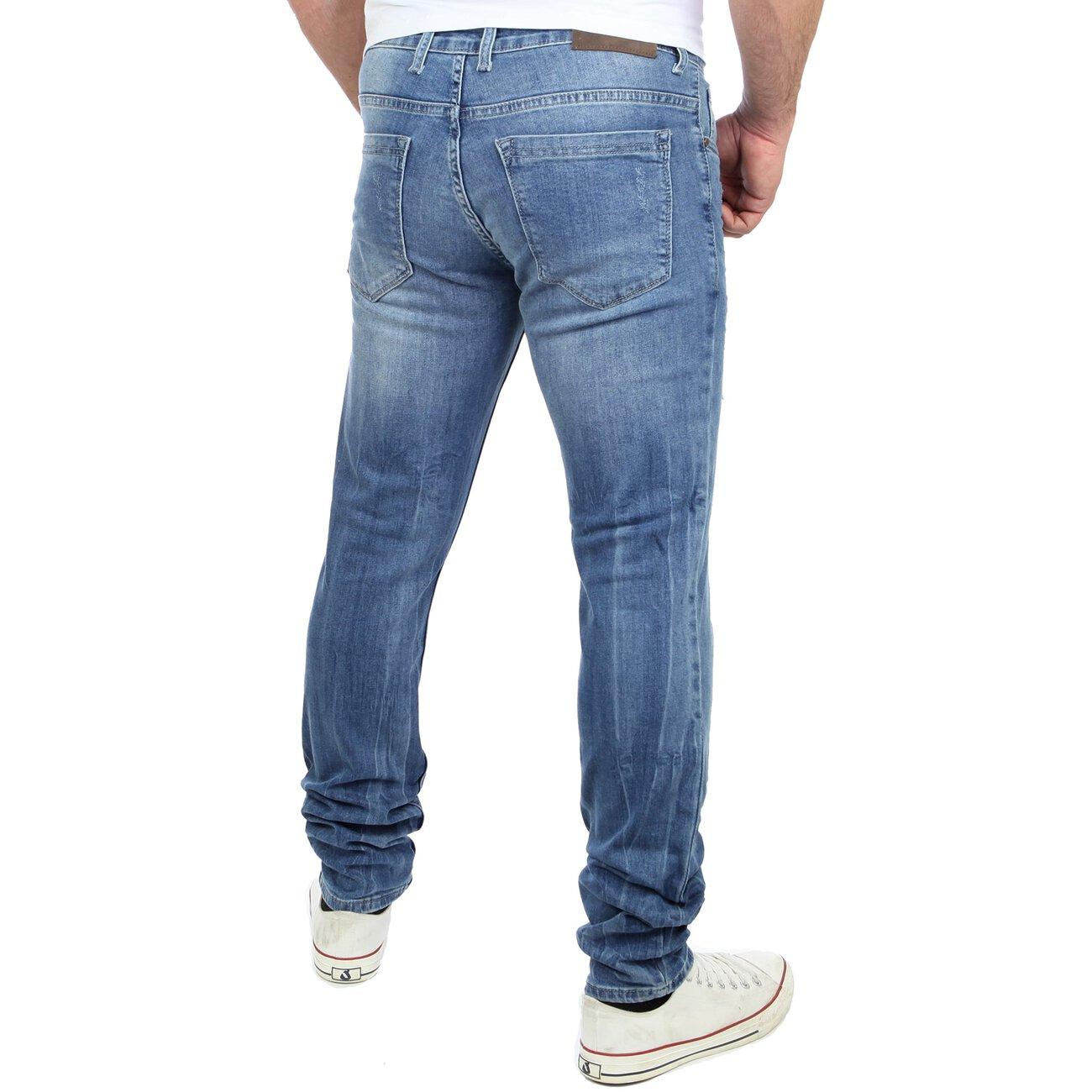 reslad herren jeans destroyed look slim fit denim jeans hose. Black Bedroom Furniture Sets. Home Design Ideas