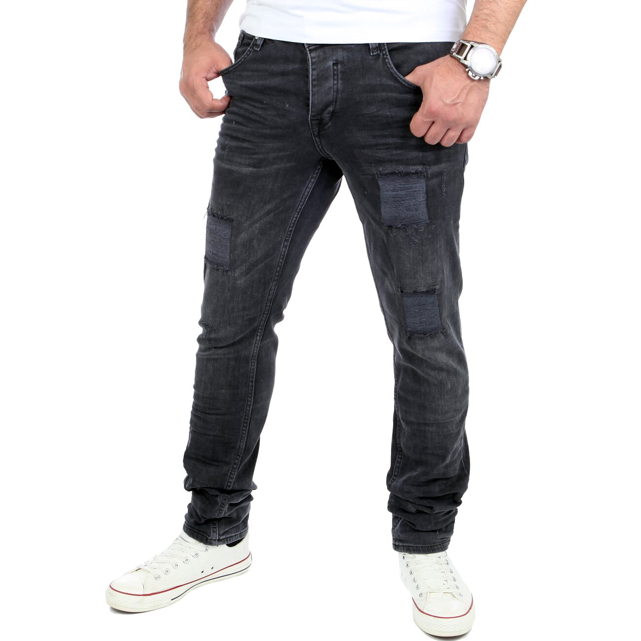 reslad herren jeans destroyed look slim fit denim jeans hose. Black Bedroom Furniture Sets. Home Design Ideas