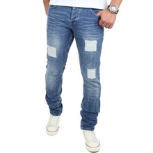 Reslad Jeans-Herren Destroyed Look Slim Fit Stretch Denim...
